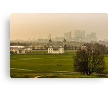 A Winter Afternoon at Greenwich - View of Queen's House and Canary Warf, England Canvas Print