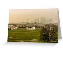 A Winter Afternoon at Greenwich - View of Queen's House and Canary Warf, England Greeting Card
