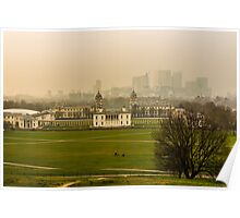 A Winter Afternoon at Greenwich - View of Queen's House and Canary Warf, England Poster