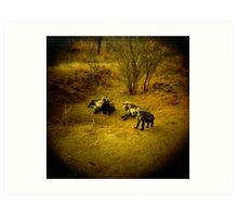 Baby Hyenas Art Print