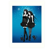 """""""Courtney and Laura: two cat girls"""" Art Print"""