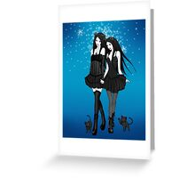 """Courtney and Laura: two cat girls"" Greeting Card"