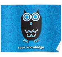 Seek Knowledge - Owl Blue Poster