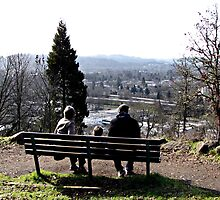 Park Bench On Top of the Butte by Chuck Gardner
