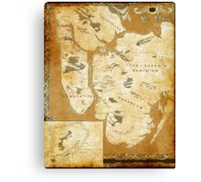Fantasy Map of New York City: Gold Parchment Canvas Print