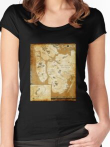 Fantasy Map of New York City: Gold Parchment Women's Fitted Scoop T-Shirt