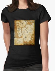 Fantasy Map of New York City: Gold Parchment Womens Fitted T-Shirt