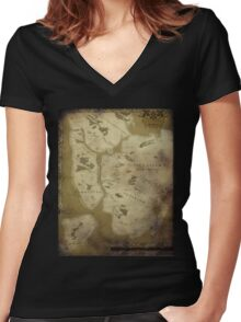 Fantasy Map of New York City: Dirty Parchment Women's Fitted V-Neck T-Shirt