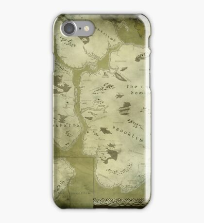 Fantasy Map of New York City: Green Parchment iPhone Case/Skin