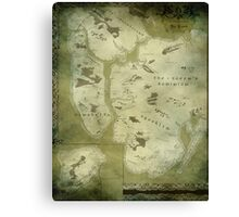 Fantasy Map of New York City: Green Parchment Canvas Print