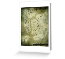 Fantasy Map of New York City: Green Parchment Greeting Card