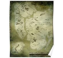 Fantasy Map of New York City: Green Parchment Poster