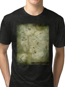Fantasy Map of New York City: Green Parchment Tri-blend T-Shirt