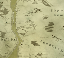 Fantasy Map of New York City: Green Parchment Sticker