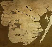 Fantasy Map of Brooklyn: Brown Parchment by MidgardMaps