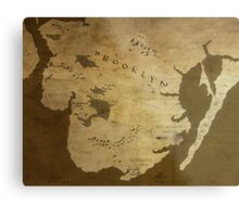 Fantasy Map of Brooklyn: Brown Parchment Metal Print