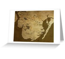 Fantasy Map of Brooklyn: Brown Parchment Greeting Card