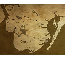Fantasy Map of Brooklyn: Brown Parchment Photographic Print