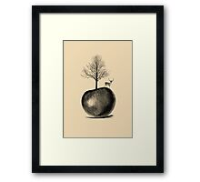 DEER APPLE TREE Framed Print