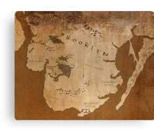 Fantasy Map of Brooklyn: Gritty Parchment Canvas Print