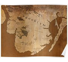 Fantasy Map of Brooklyn: Gritty Parchment Poster