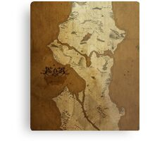 Fantasy Map of Seattle: Brown Parchment Metal Print
