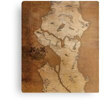 Fantasy Map of Seattle: Gritty Parchment Metal Print