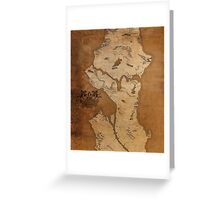 Fantasy Map of Seattle: Gritty Parchment Greeting Card