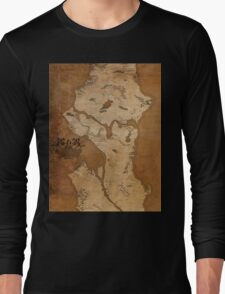 Fantasy Map of Seattle: Gritty Parchment Long Sleeve T-Shirt