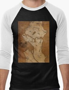 Fantasy Map of Seattle: Gritty Parchment Men's Baseball ¾ T-Shirt