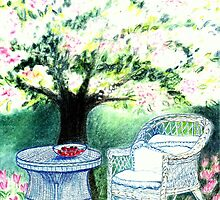 SPRINGTIME GARDEN - DREAMING UNDER A BLOOMING APPLETREE - Pastel - and Colour-Pencil-Design by RubaiDesign
