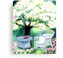 SPRINGTIME GARDEN - DREAMING UNDER A BLOOMING APPLETREE - Colour-Pencil-Design Canvas Print