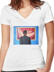 Man with bowler in front of nude Women's Fitted V-Neck T-Shirt