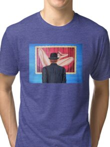 Man with bowler in front of nude Tri-blend T-Shirt