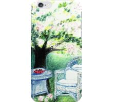 SPRINGTIME GARDEN - DREAMING UNDER A BLOOMING APPLETREE - Pastel - and Colour-Pencil-Design iPhone Case/Skin