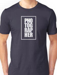 Photographer (white) Unisex T-Shirt