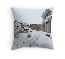 Snow In My South London Garden Throw Pillow