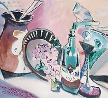 STILL LIFE WITH WINE MAN(C1995) by Paul Romanowski