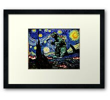 Godzilla versus Starry Night Framed Print