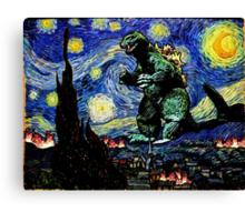 Godzilla versus Starry Night Canvas Print