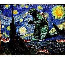 Godzilla versus Starry Night Photographic Print