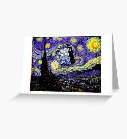 The Tardis in the Starry Night Greeting Card
