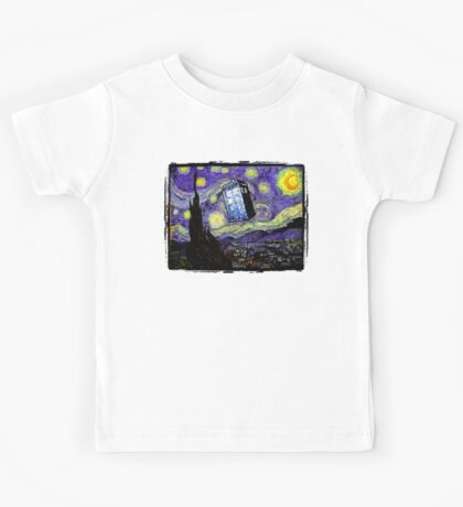 The Tardis in the Starry Night Kids Tee