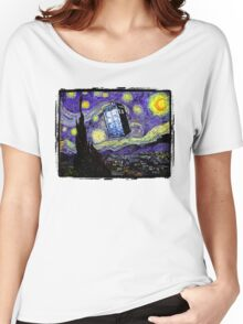 The Tardis in the Starry Night Women's Relaxed Fit T-Shirt