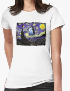 The Tardis in the Starry Night Womens Fitted T-Shirt