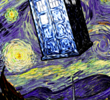 The Tardis in the Starry Night Sticker