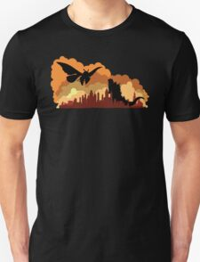 Godzilla versus Mothra cityscape T-Shirt