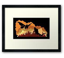 Godzilla versus Mothra cityscape Framed Print