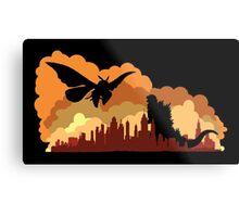 Godzilla versus Mothra cityscape Metal Print