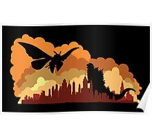 Godzilla versus Mothra cityscape Poster